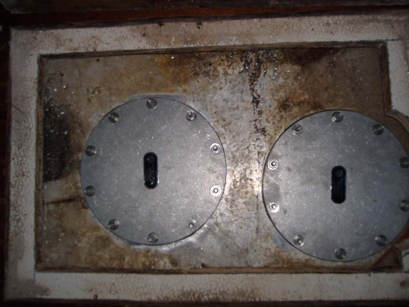 Figure 7. Inspection holes on either side of internal baffle.
