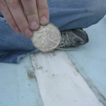 Lucky silver dollar to be placed under the mast step. Thanks Michelle