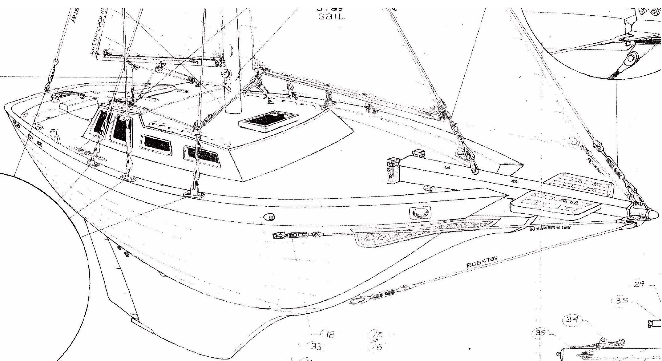 De32 Cutter Running And Standing Rig Details Downeaster Yachtscom Sailboat Mast Wiring Diagram