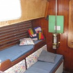 propane heater on port bulkhead in saloon