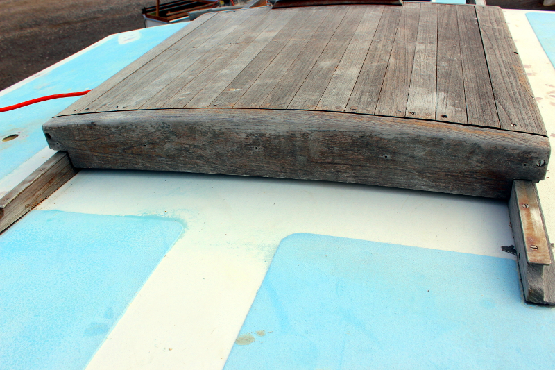 Companionway Hatch And Doors, Pre Removal. You Can See The Wood Was In A  Pretty Weathered State.