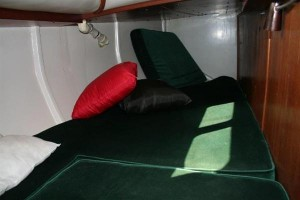 Aft Cabin layout on boats where pilot berth and chart table are replaced with small cabin.