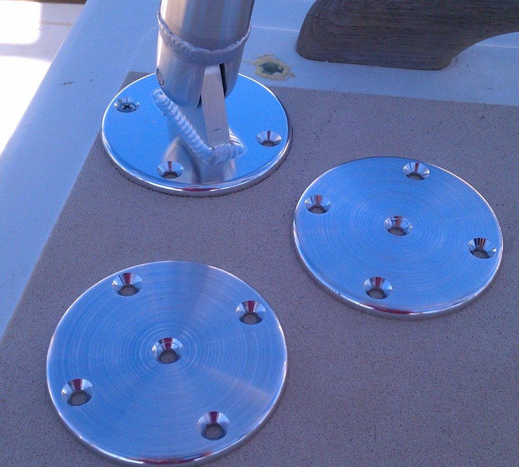 deck mount and backing plates for under the deck
