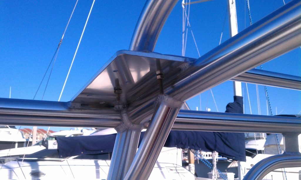 portside aft handrail and boom protector mounting plate underside
